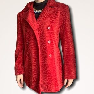 Giacca Red Faux Fur Vibrant double breasted coat